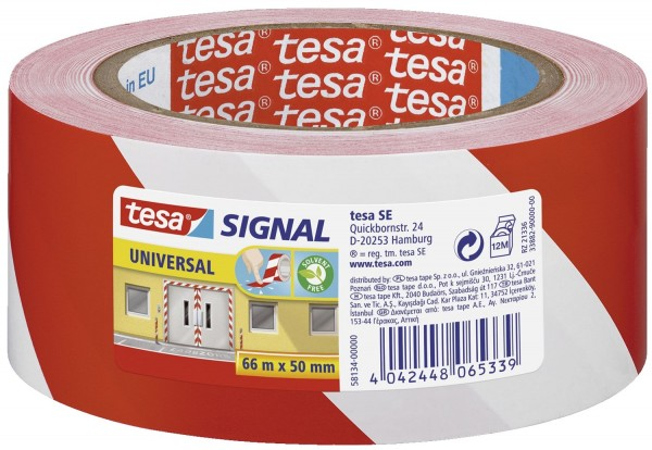 tesa® Markierungsklebeband Universal - rot/weiß - 66 mm x 50 m