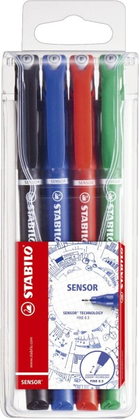 Stabilo® Fineliner sensor® - 0,3 mm, Kunststoffetui mit 4 Stiften