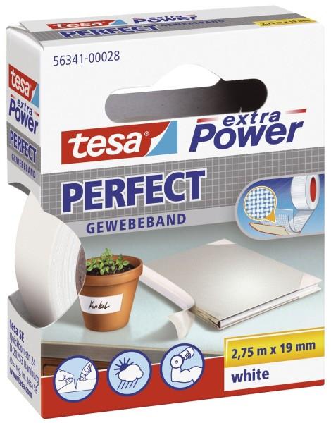 tesa® Gewebeklebeband extra Power Gewebeband, 2,75 m x 19 mm, weiß