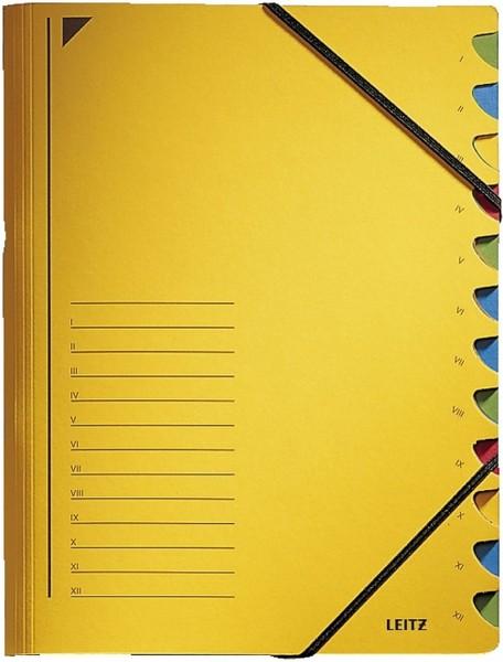 Leitz 3912 Ordnungsmappe - 12 Fächer, A4, Pendarec-Karton (RC), 430 g/qm, gelb