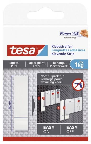 tesa® Powerstrips® Klebestreifen - ablösbar, Tragfähigkeit 1 kg, weiß, 6 Stück