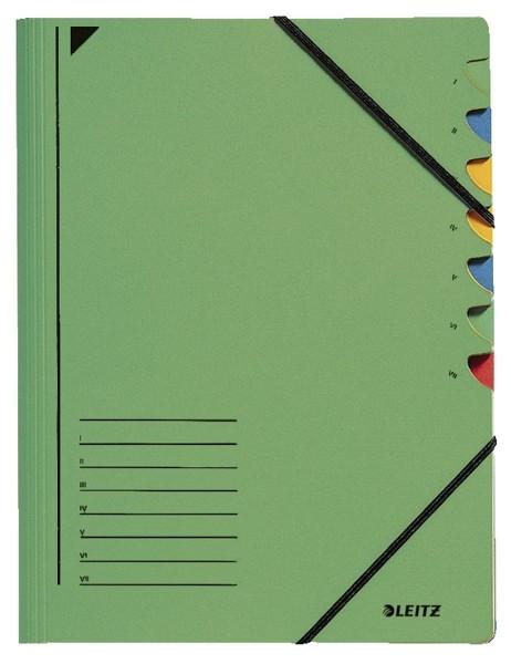 Leitz 3907 Ordnungsmappe - 7 Fächer, A4, Pendarec-Karton (RC), 430 g/qm, grün