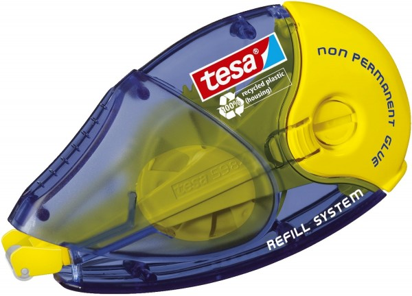 tesa® Roller ecoLogo Kleben Non Permanent - 14 m x 8,4 mm, blau