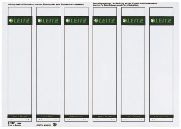 Leitz 1686 PC-beschriftbare Rückenschilder - Papier, kurz/schmal, 150 Stück, grau