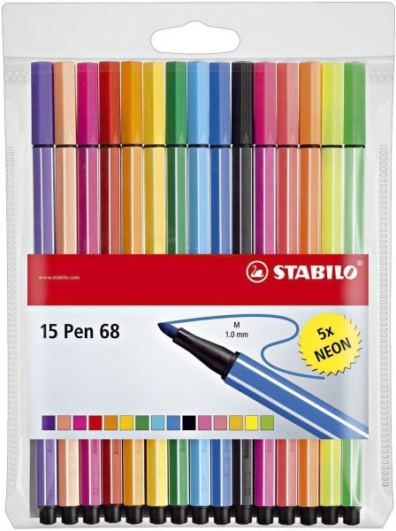 Stabilo® Fasermaler Pen 68 - Kunststoffetui, 15 Farben