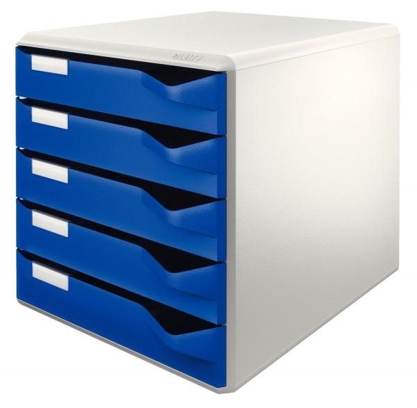 Leitz 5280 Schubladenset Post-Set - A4/C4, 5 halboffene Schubladen, lichtgrau/blau