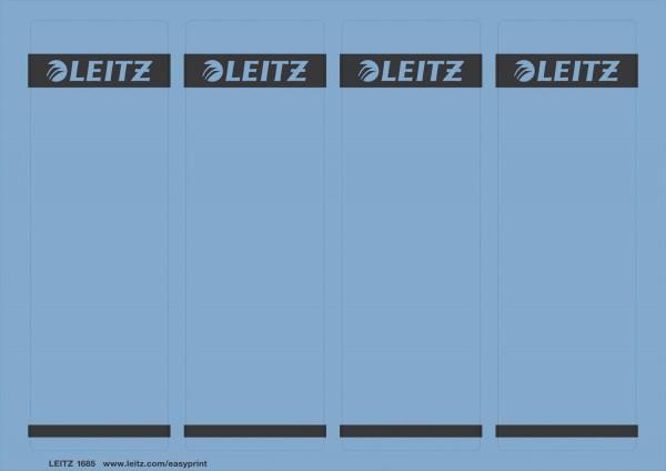 Leitz 1685 PC-beschriftbare Rückenschilder - Papier, kurz/breit,100 Stück, blau