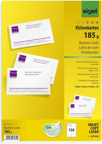SIGEL Visitenkarten, microperforiert, 185 g/qm, hochweiß, 150 Stück