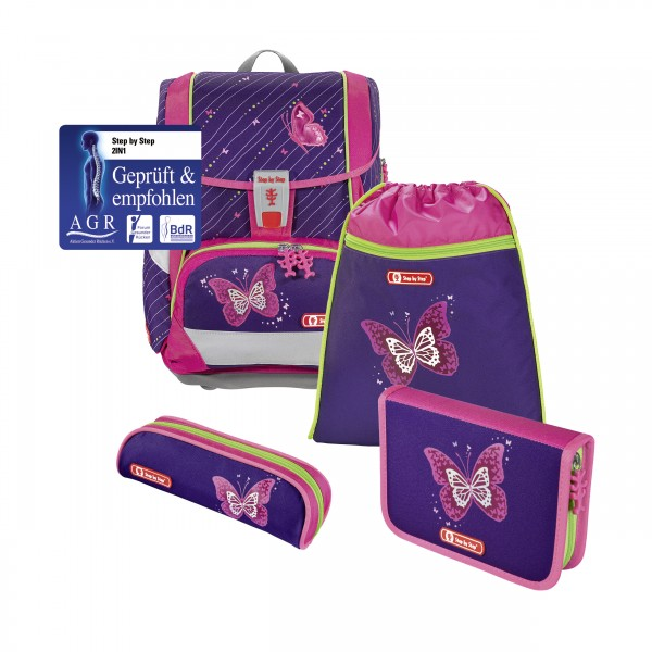 """Step by Step 2IN1 Schulranzen-Set """"Shiny Butterfly"""", 4-teilig"""