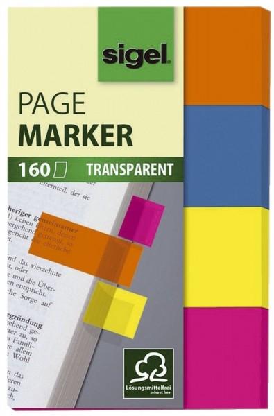 SIGEL Haftmarker Film, orange, blau, gelb, pink, 20x50 mm, 160 Streifen