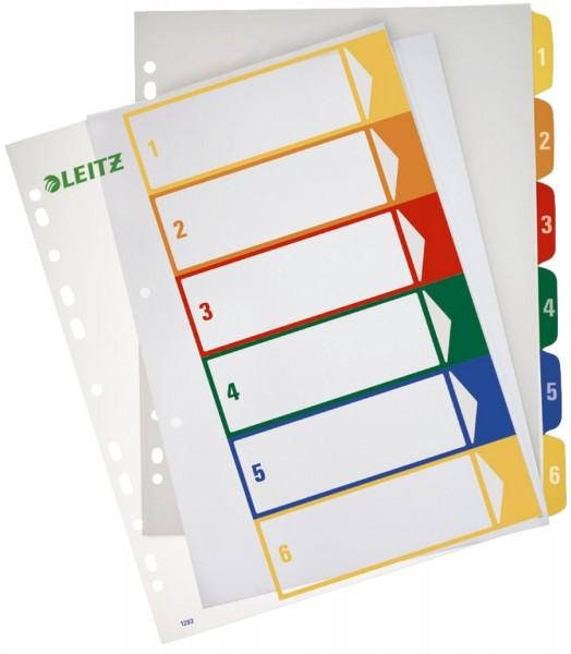 Leitz 1292 Zahlenregister - PP, blanko, bedruckbar, A4 Überbreite, 6 Blatt, farbig