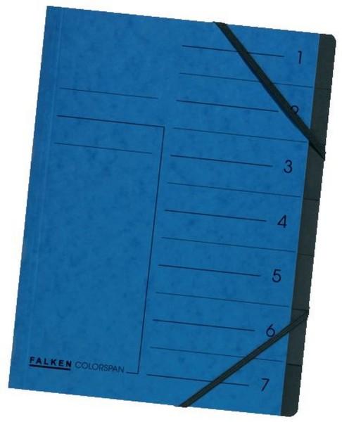 Falken Ordnungsmappe - 7 Fächer, A4, Colorspan-Karton 355 g/qm, blau