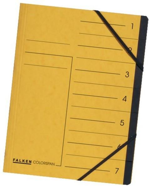 Falken Ordnungsmappe - 7 Fächer, A4, Colorspan-Karton 355 g/qm, gelb