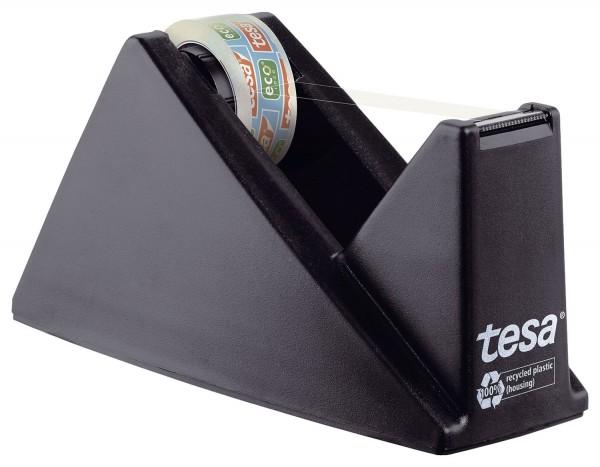 tesa® Tischabroller ecoLogo®, gefüllt - inklusive 1 Rolle Eco & Clear, schwarz