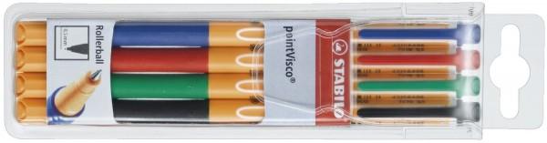 Stabilo® Tintenroller pointVisco® Etui mit 4 Stiften