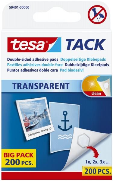 tesa® Klebestück Tack - wieder ablösbar, 10 x 10 mm, transparent, 200 Stück