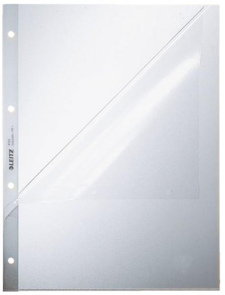 Leitz 4784 Prospekthüllen, oben und Lochseite offen - Oberteil mitgelocht, genarbt 0,13 mm, A4