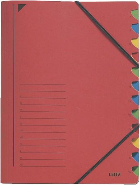 Leitz 3912 Ordnungsmappe - 12 Fächer, A4, Pendarec-Karton (RC), 430 g/qm, rot
