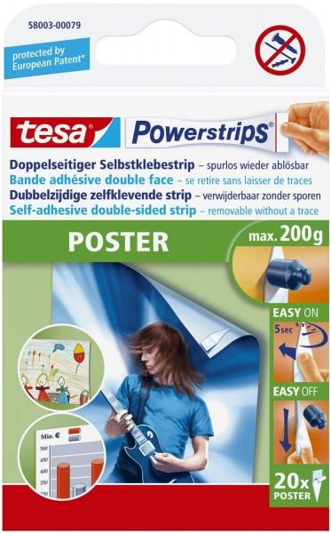 tesa® Powerstrips® Poster - ablösbar, Tragfähigkeit 200 g, weiß,20 Stück