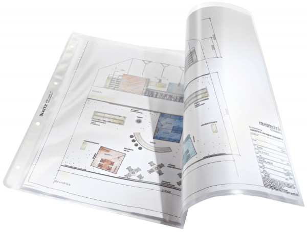 Leitz 4723 Prospekthülle Premium mit Einreißschutz, A3 quer, PP, genarbt, dokumentenecht, farblos