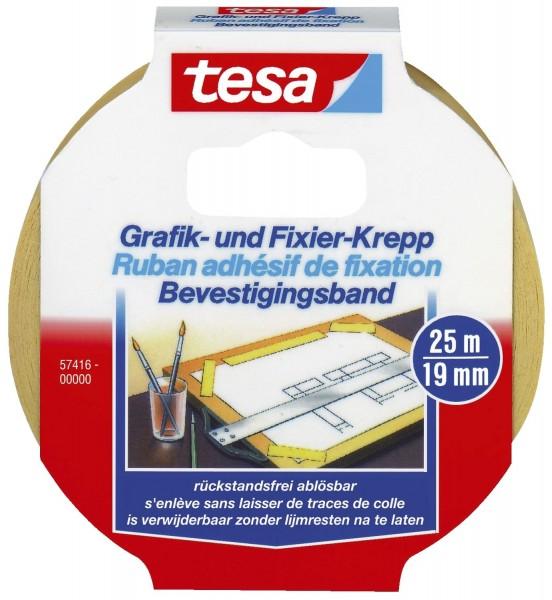 tesa® Fixierband Grafik- und Fixier-Krepp, Papier, 25 m x 19 mm, beige