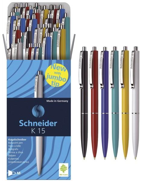 Schneider Druckkugelschreiber K15 - M, blau (dokumentenecht), sortiert