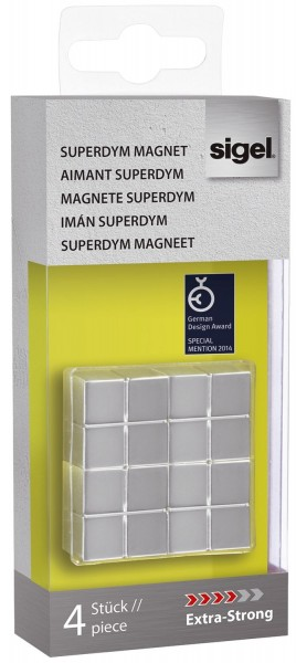 "SIGEL SuperDym-Magnete C10 ""Extra-Strong"", Cube-Design, silber, 4 Stück"