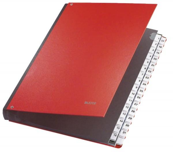 Leitz 5931 Pultordner 1-31, 32 Fächer, PP, rot
