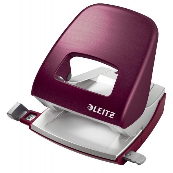 Leitz 5006 Bürolocher NeXXt Style, Metall, 30 Blatt, granat rot