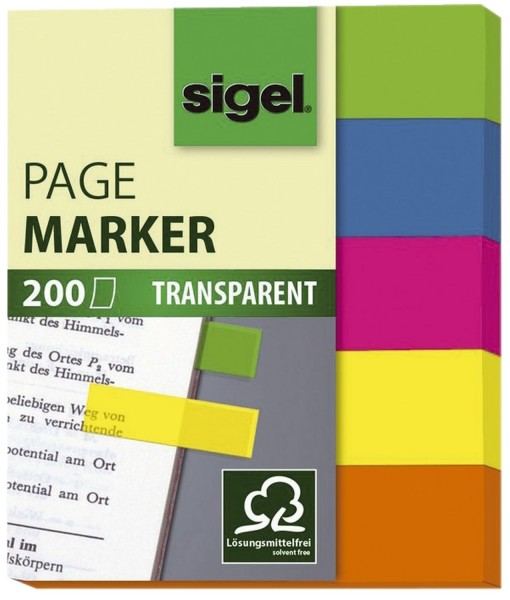 SIGEL Haftmarker Folie - 50 x 12 mm, 5 Farben, 200 Streifen