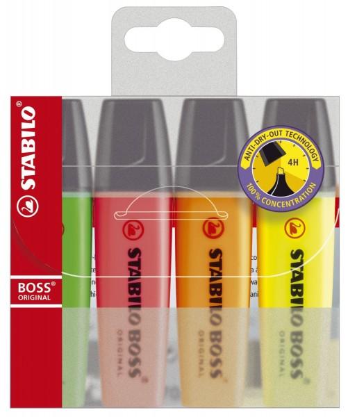 Stabilo® Textmarker BOSS® ORIGINAL - Etui, 4 Farben