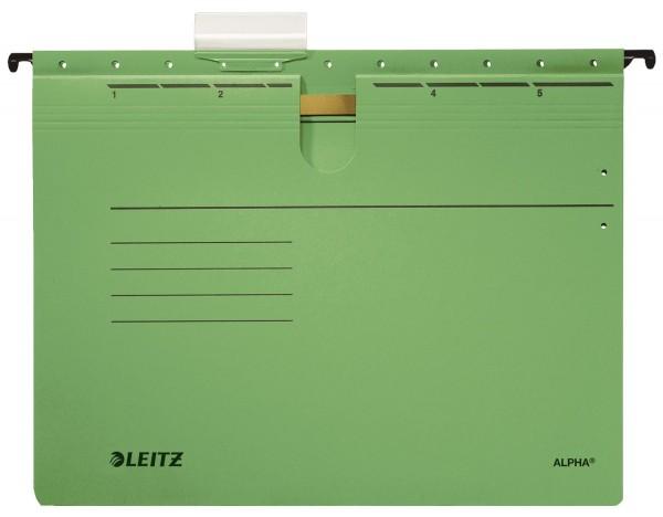 Leitz 1984 Hängehefter ALPHA® - kfm. Heftung, Recyclingkarton, grün