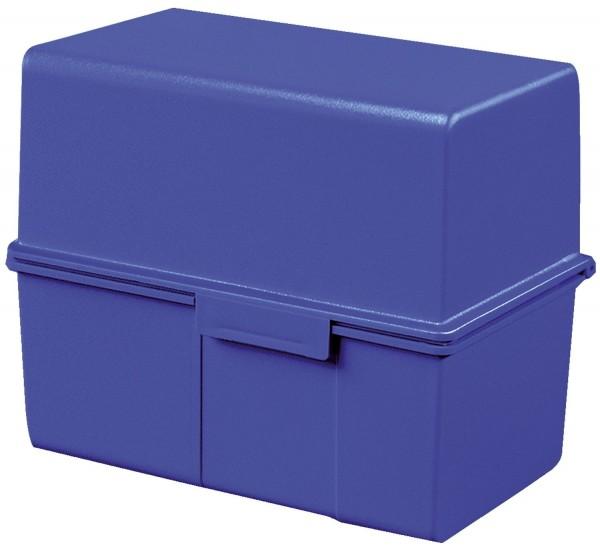 HAN Karteibox DIN A6 quer, für 400 Karten mit Stahlscharnier, blau