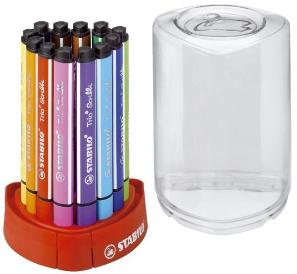 Stabilo® Dreikant-Fasermaler Trio® Scribbi - Tischset, mit 12 Stiften