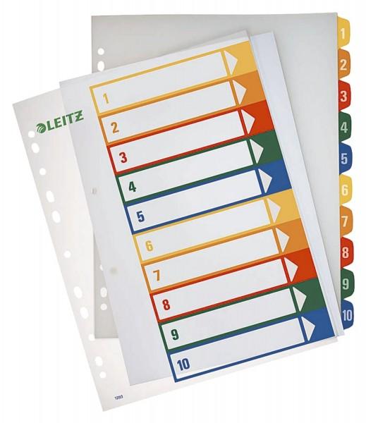 Leitz 1293 Zahlenregister - PP, blanko, bedruckbar, A4 Überbreite, 10 Blatt, farbig