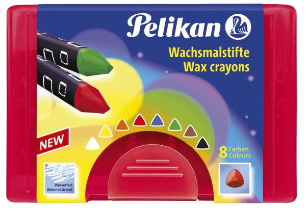 Pelikan Wachsmalstift 665/8, dreieckig, Wachskreide, 8 Farben