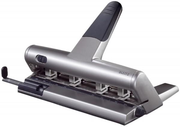 Leitz 5114 Mehrfachlocher AKTO®, 3 mm, mit Anschlagschiene, silber