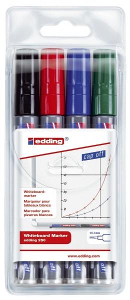 Edding 250 Boardmarker - nachfüllbar, 1,5 - 3 mm, sortiert, 4er Pack