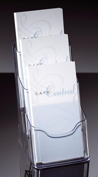 SIGEL Tisch-Prospekthalter acrylic, mit 3 Fächern, glasklar, für DL