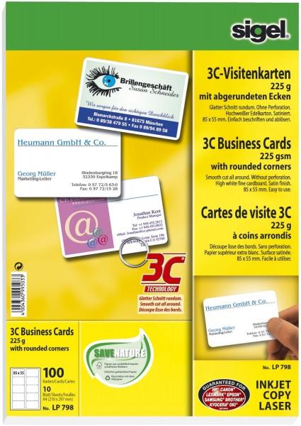 Sigel® Visitenkarten, 3C, glatter Schnitt rundum, mit abgerundeten Ecken, 225 g/qm, hochweiß, 100 St