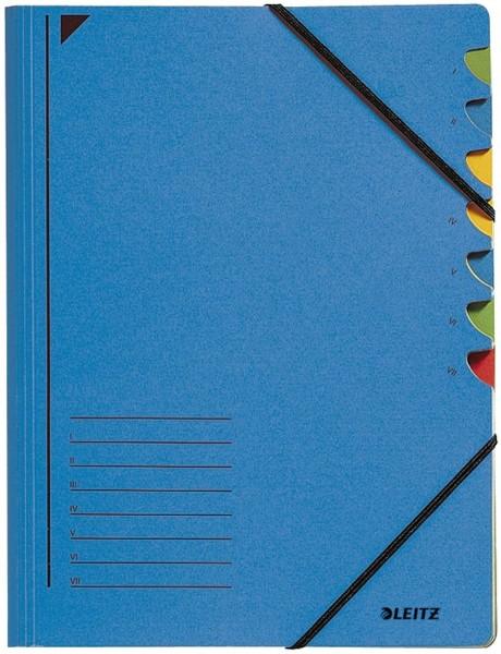 Leitz 3907 Ordnungsmappe - 7 Fächer, A4, Pendarec-Karton (RC), 430 g/qm, blau
