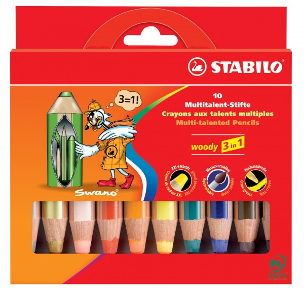 Stabilo® Multitalent-Stift woody 3 in 1, Kartonetui mit 6 Stiften