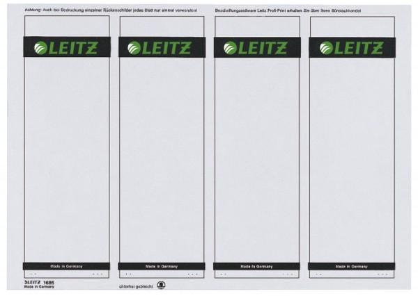 Leitz 1685 PC-beschriftbare Rückenschilder - Papier, kurz/breit,100 Stück, grau