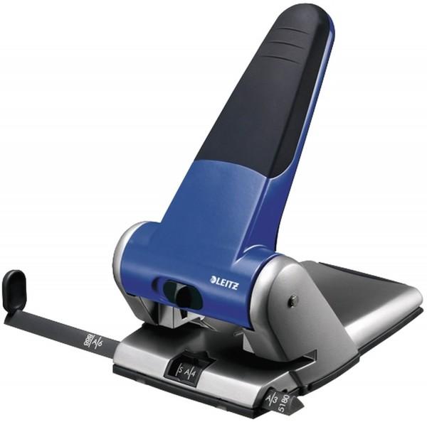 Leitz 5180 Registraturlocher bis A3, 6,5 mm, mit Anschlagschiene, blau