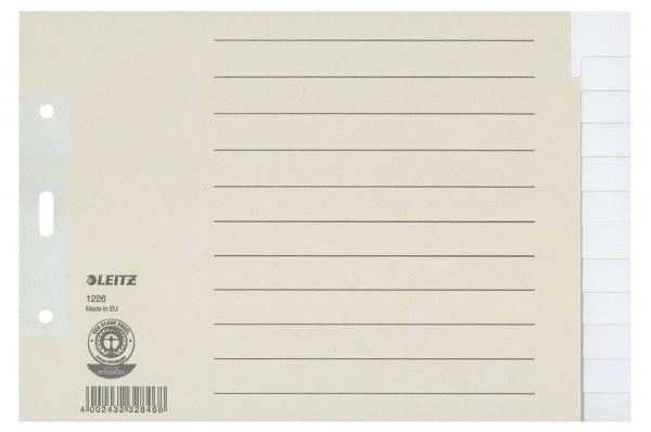 Leitz 1226 Register - Tauenpapier, blanko, A5 quer Überbreite, 12 Blatt, grau