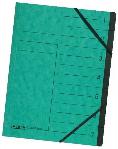 Falken Ordnungsmappe - 7 Fächer, A4, Colorspan-Karton 355 g/qm, grün