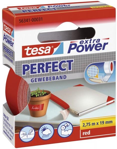 tesa® Gewebeklebeband extra Power Gewebeband, 2,75 m x 19 mm, rot