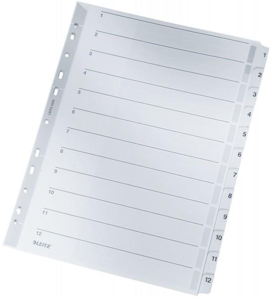 Leitz 4325 Zahlenregister - 1-12, A4, Karton, 12 Blatt, grau