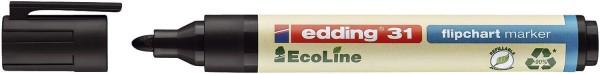 Edding 31 Flipchartmarker EcoLine - nachfüllbar, 1,5 - 3 mm, schwarz