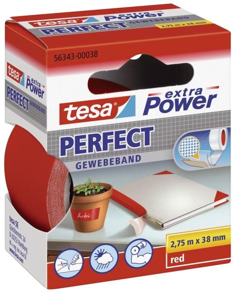 tesa® Gewebeklebeband extra Power Gewebeband, 2,75 m x 38 mm, rot